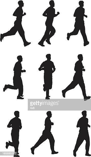 men jogging - sportsperson stock illustrations