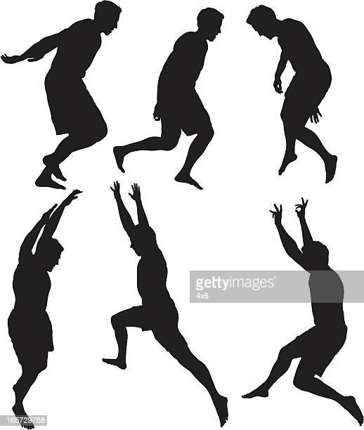 men jumping in excitement - human body part stock illustrations
