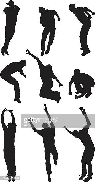 men jumping with excitement - image technique stock illustrations