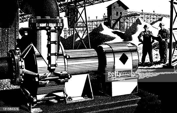 Men Looking at Machinery
