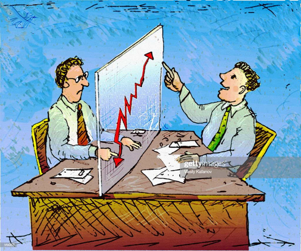 Men Looking at Reversible Chart : Stock Illustration