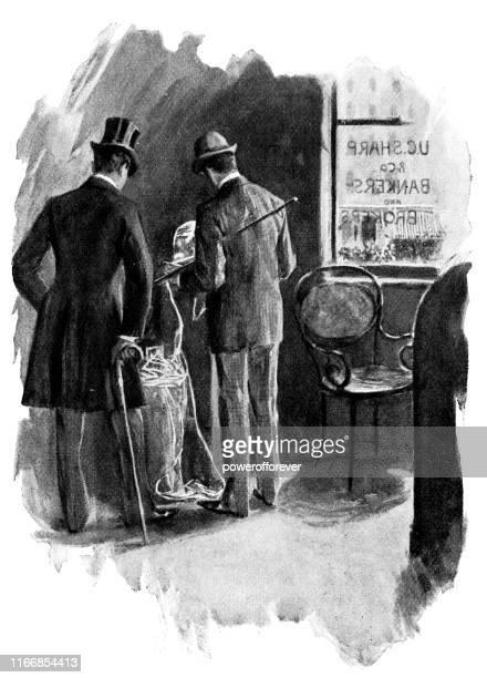 ニューヨーク市、ニューヨーク、アメリカ合衆国の銀行でティッカーテープを見ている男性 - 19世紀 - 紙テープ点のイラスト素材/クリップアート素材/マンガ素材/アイコン素材