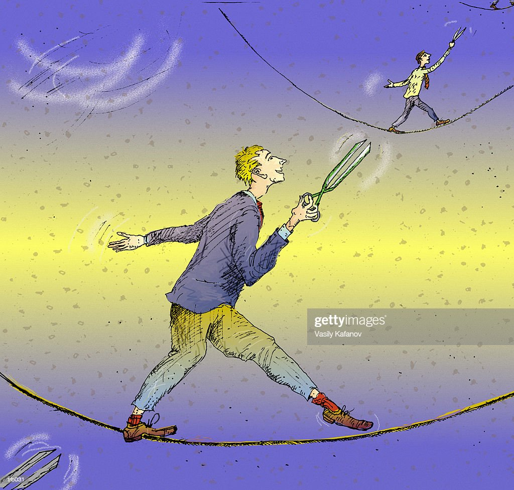 Men on Tightrope with Scissors : Stock Illustration
