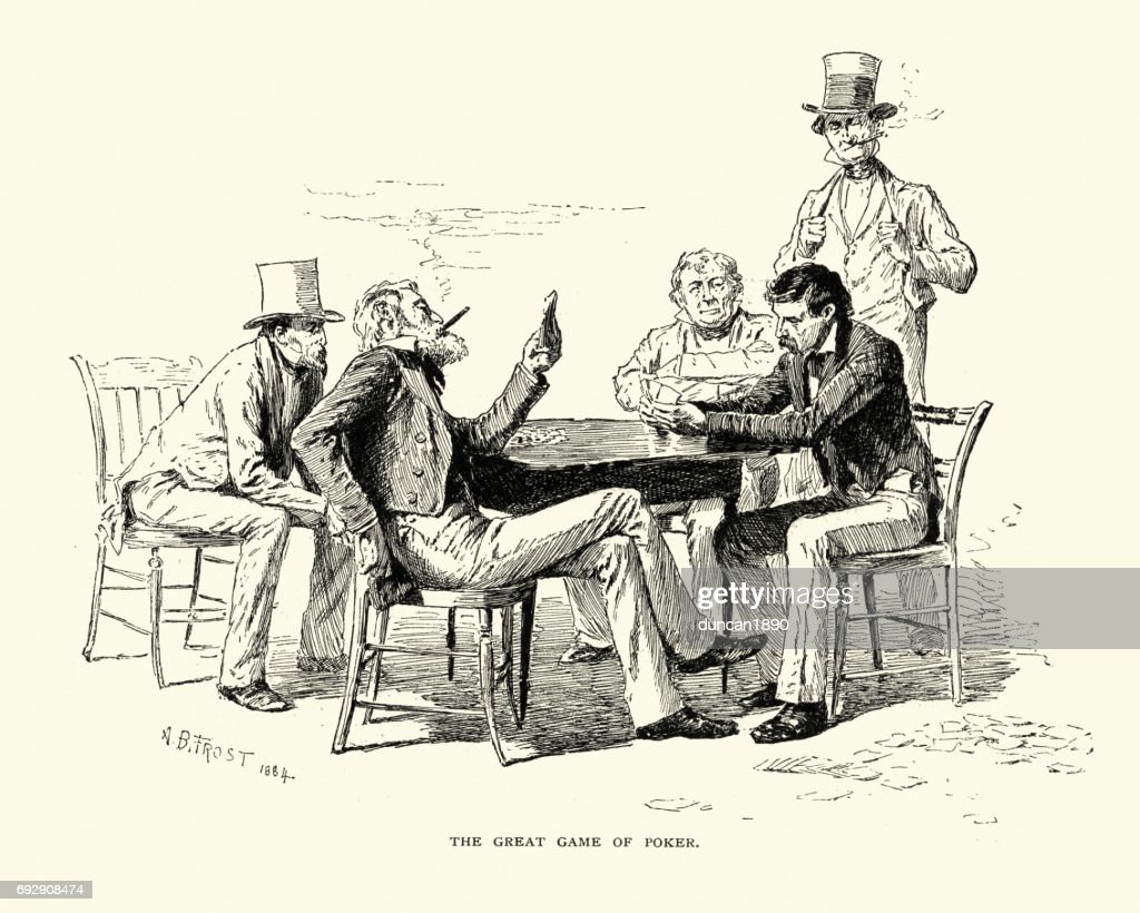 Men playing a game of poker, 19th Century - stock illustration.Vintage engraving of Men playing a game of poker, 19th Century {{purchaseLicenseLabel}} {{restrictedAssetLabel}} {{buyOptionLabel(option)}} You have view-only access under this Premium Access agreement.Contact your company to license this image.