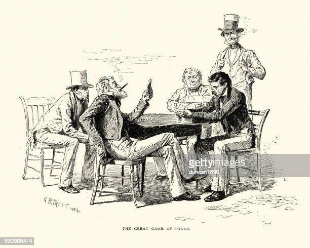 men playing a game of poker, 19th century - poker card game stock illustrations