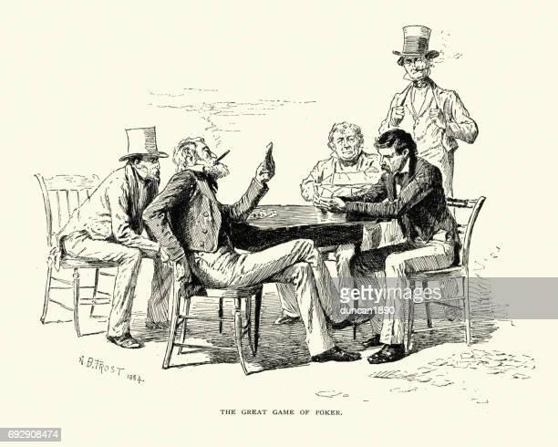 ilustraciones, imágenes clip art, dibujos animados e iconos de stock de hombres jugando un juego de poker, siglo xix - bar