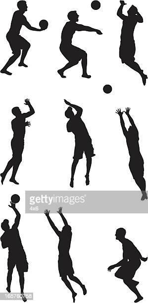 ilustraciones, imágenes clip art, dibujos animados e iconos de stock de hombre jugando voleibol de playa - vóleibol de playa