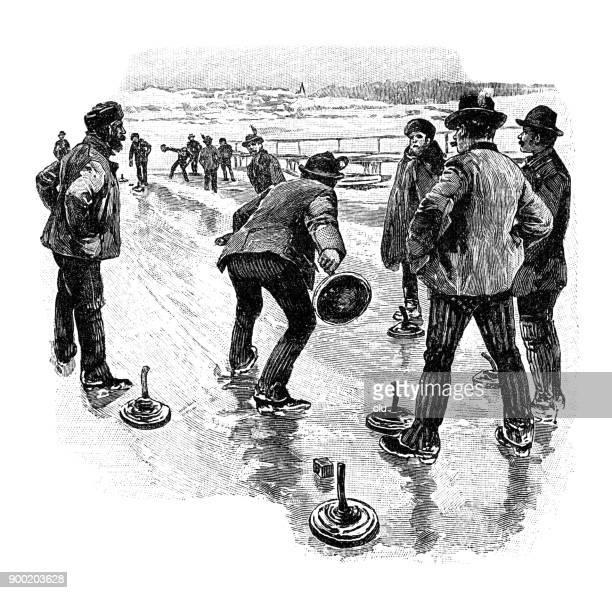 men playing curling - curling sport stock illustrations