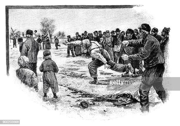 men playing eisbosseln sports in ostfriesland: throwing a wooden ball on the ice - sports organization stock illustrations, clip art, cartoons, & icons