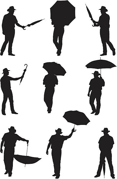 men posing with umbrellas - human body part stock illustrations