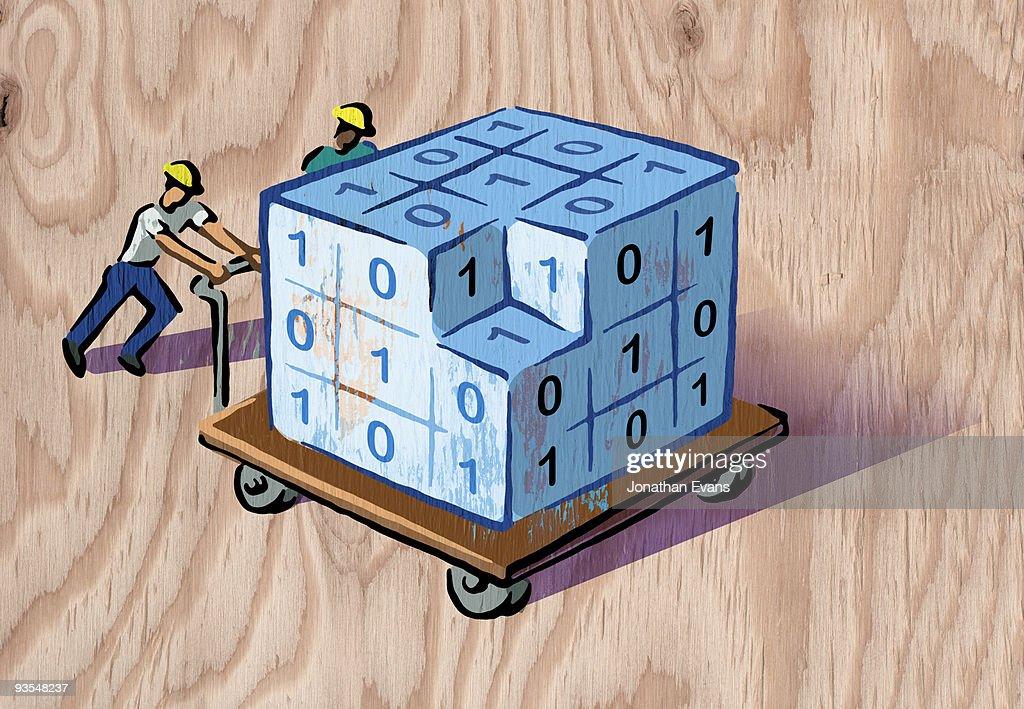 men pushing cart of data : Stock Illustration