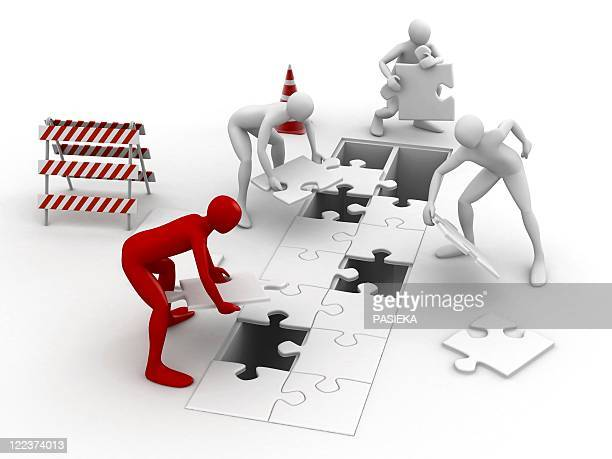 men putting puzzle pieces together - close up stock illustrations