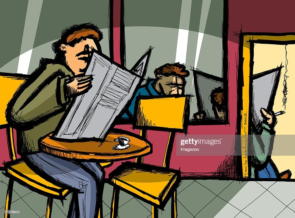men reading a newspaper at a cafe : stock illustration