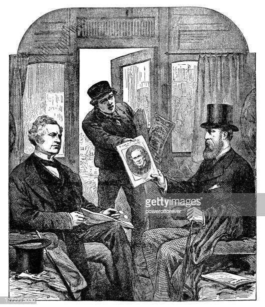 ロンドンの閣僚危機のニュースを受け取る男性-19世紀 - ヨーロッパ文化点のイラスト素材/クリップアート素材/マンガ素材/アイコン素材