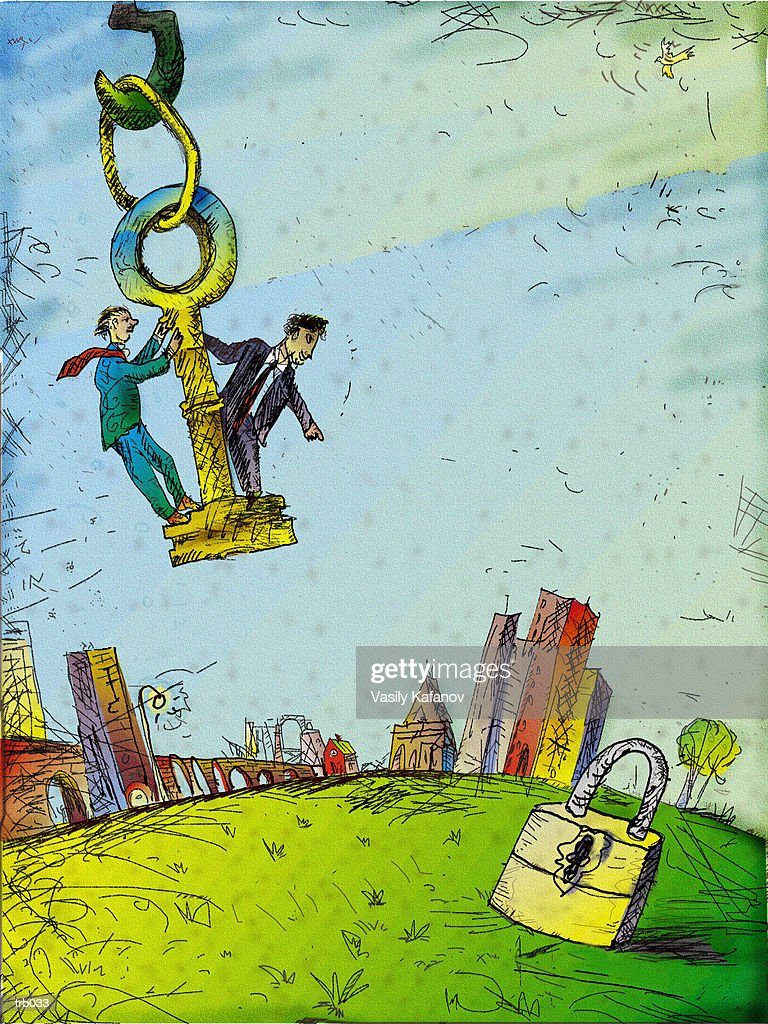 Men Riding on Key : Stockillustraties