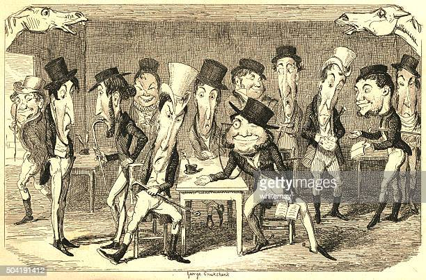 men settling gambling debts after the epsom derby - bookmakers stock illustrations, clip art, cartoons, & icons