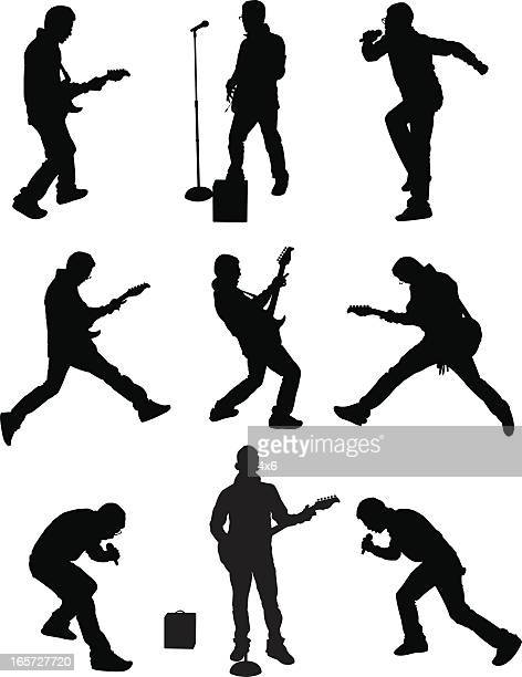 men singing and playing guitar on stage - microphone stand stock illustrations