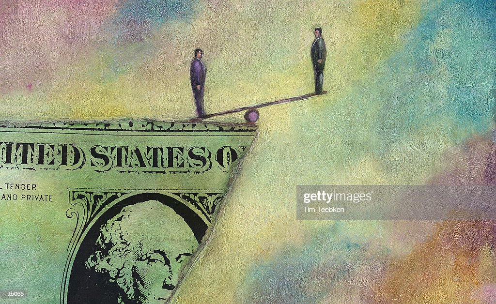 Men Teetering on Dollar Bill : Stock Illustration