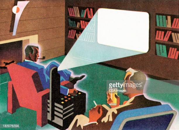 men watching movie - addiction stock illustrations, clip art, cartoons, & icons