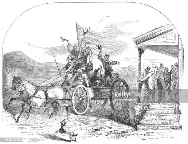 men waving to townspeople as they travel out west in the usa (19th century) - horse cart stock illustrations, clip art, cartoons, & icons