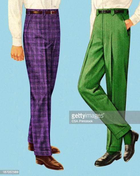 Men Wearing Purple and Green Pants