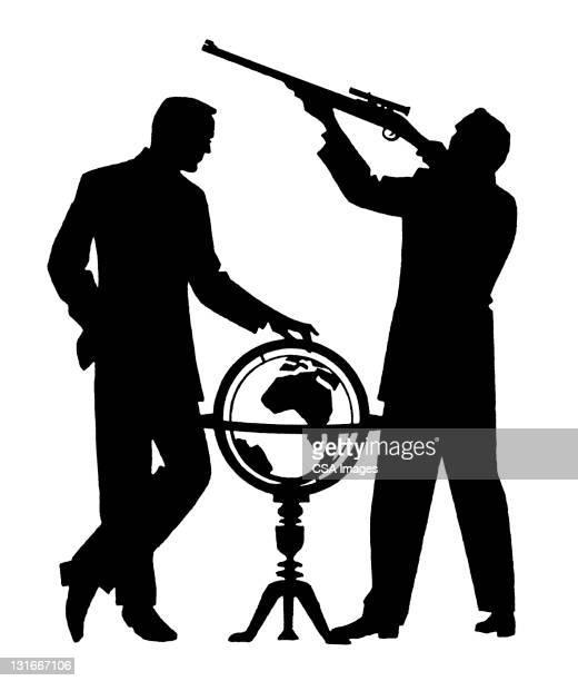 Men With Globe and Gun
