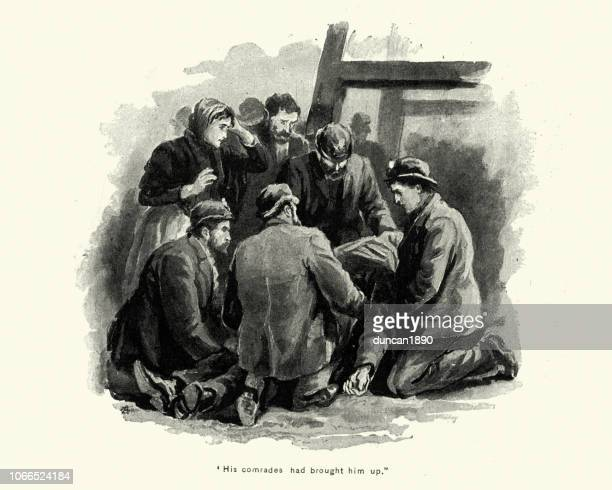 men with the body of victim of mining accident, victorian - mining accident stock illustrations