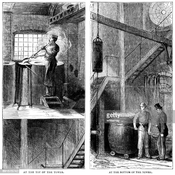 Men working at the top and bottom of a lead shot tower