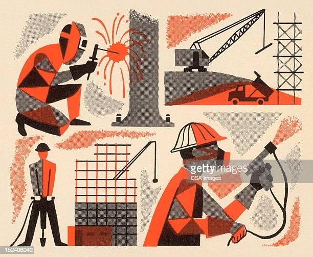 ilustraciones, imágenes clip art, dibujos animados e iconos de stock de hay personal trabajando - soldar