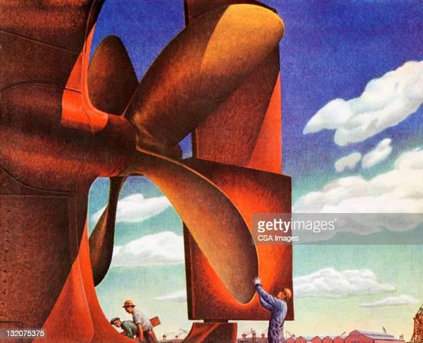 Men Working on Giant Propeller