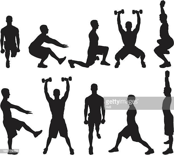 men working out with dumbbells - crouching stock illustrations, clip art, cartoons, & icons