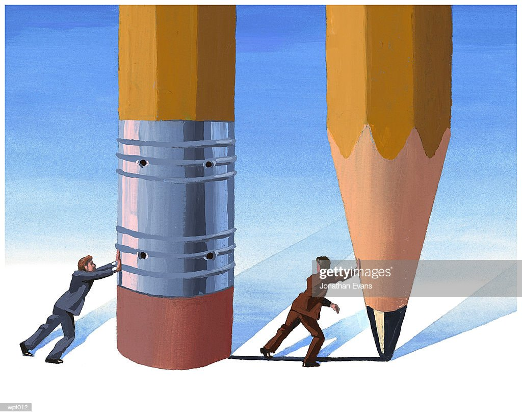 Men Writing & Erasing : Stock Illustration