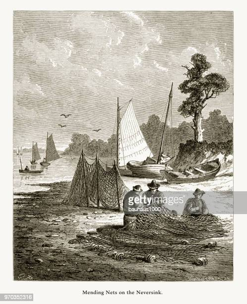 Mending Nets on the Neversink, Shrewsbury River, The Neversink Highlands, New Jersey, United States, American Victorian Engraving, 1872