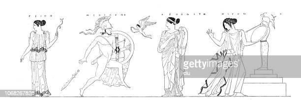 Menelaos goes for the recovered Helena with the sword, but is calmed down by Aphrodite