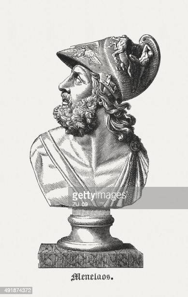 menelaus - figure in the greek mythology, published in 1878 - mycenae stock illustrations
