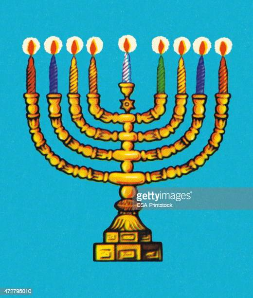 menorah - hebrew script stock illustrations, clip art, cartoons, & icons