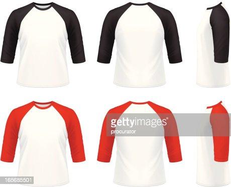 Mens 34 sleeve raglan tshirt vector art getty images for 3 4 sleeve shirt template