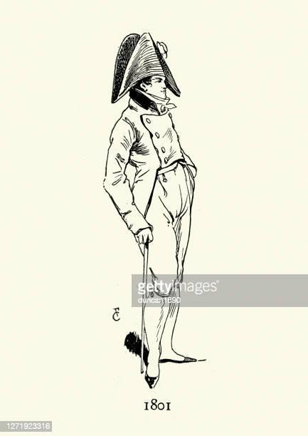 メンズファッション19世紀、ビコーンハットをかぶったスマートな服を着た男 - 1800~1809年点のイラスト素材/クリップアート素材/マンガ素材/アイコン素材