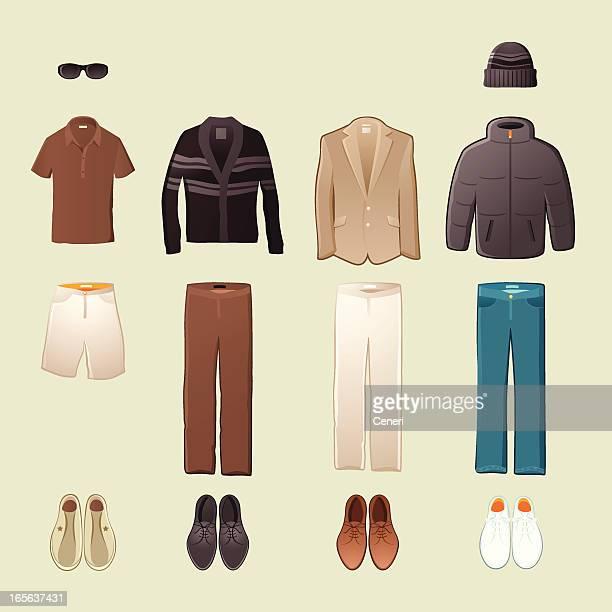 men's fashion - cardigan sweater stock illustrations, clip art, cartoons, & icons