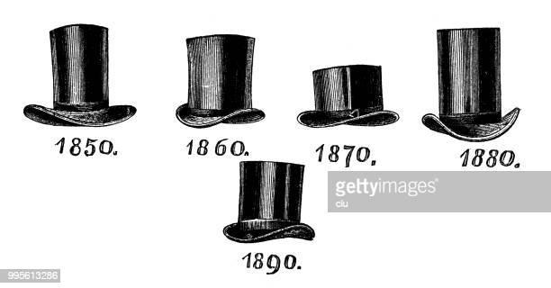 男性のファッション: シルクハットは 2 番目の半分の 19 世紀 - 1890~1899年点のイラスト素材/クリップアート素材/マンガ素材/アイコン素材