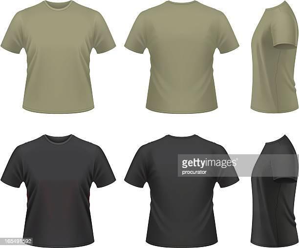 ilustrações, clipart, desenhos animados e ícones de camiseta masculina - preto