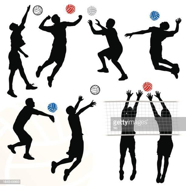 illustrazioni stock, clip art, cartoni animati e icone di tendenza di pallavolo maschile - pallone da pallavolo