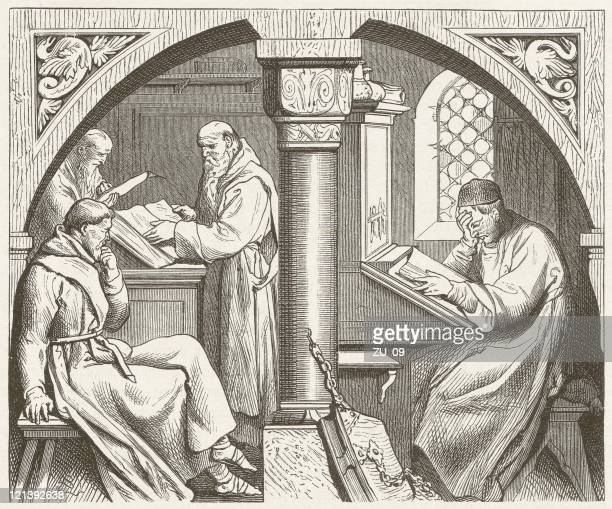 mental work in a medieval monastery, wood engraving,published 1881 - abbey monastery stock illustrations