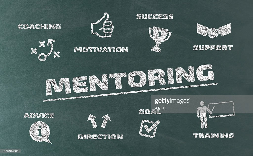Mentoring Concept with Icons on Blackboard : stock illustration