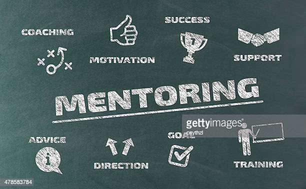 mentoring concept with icons on blackboard - guru stock illustrations, clip art, cartoons, & icons