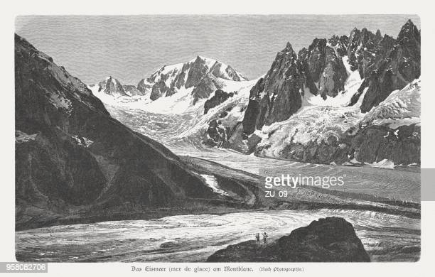 mer de glace, mont blanc massif, french alps, published 1897 - mont blanc stock illustrations, clip art, cartoons, & icons
