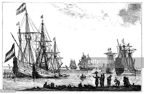 merchant ships from the time of louis xiv - 17th century stock illustrations, clip art, cartoons, & icons