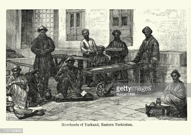 illustrations, cliparts, dessins animés et icônes de marchands de yarkand, turkestan oriental, xixe siècle - marchand