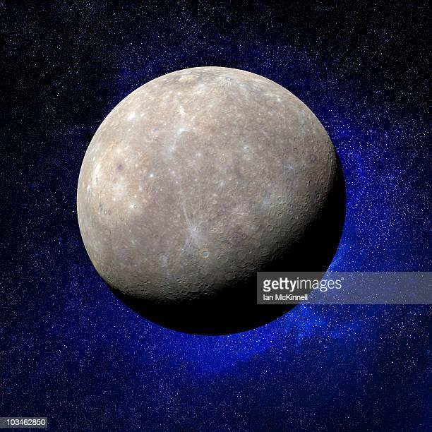 mercury & stars - mercury planet stock illustrations