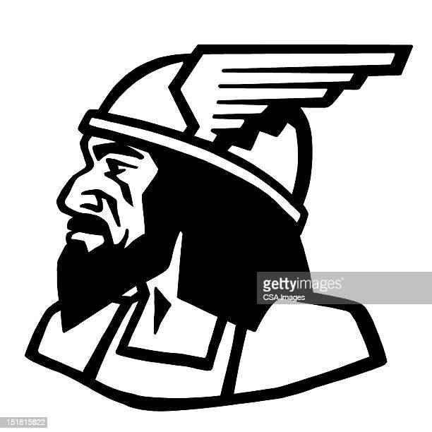 mercury wearing winged helmet - helmet stock illustrations